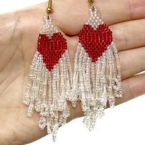 Vintage Native American Heart Beaded Earrings